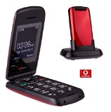 TTfone Star Big Button Simple Easy To Use Clamshell Flip Mobile Phone with Vodafone Pay as You Go – Red