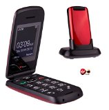 TTfone Star Big Button Simple Easy To Use Clamshell Flip Pay as you go – Pre pay – PAYG Mobile Phone (Virgin Pay as you go, Red)