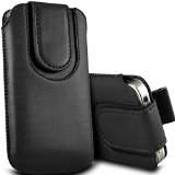 Digi Pig – Doro Liberto 820 MINI Colour PU Leather Pull Tab Pouch with Magnetic Flap – Black