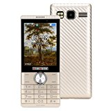 QIMAOO Portable Basic Simple Senior Unlocked Big Button Mobile Phone with SOS Button, Torch & Radio for Senior Elder People (Gold)