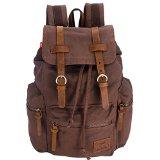 Augur Backpack Unisex Canvas Rucksack Vintage Knapsack Casual School Hiking Travel Shoulder Bag for 13″-14″ Laptop PC A4 Magazine iPad 3/4/Air