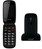 Denver GSP-130 Black Big Button Easy to Use Flip Mobile Phone with SOS Quick Call Button, SIM Free Unlocked, Charging Dock & Bluetooth