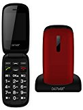 Denver GSP-130 Red Big Button Easy to Use Flip Mobile Phone with SOS Quick Call Button, SIM Free Unlocked, Charging Dock & Bluetooth