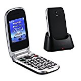 Easyfone W77 Senior Unlocked Sim-Free GSM Flip Mobile Phone, SOS Button, 2.4″ Large Screen with Large Keypad and Big Font, FM/Flashlight Quick Switch with Charging Dock – Black